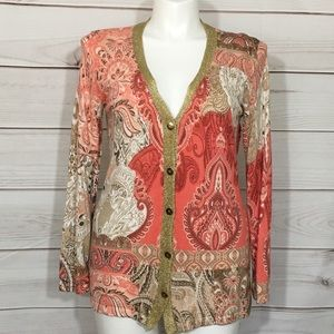 Chico's Gold Trim Pink Paisley Cardigan Sweater 2
